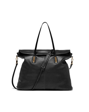 Elizabeth And James Black Leather Satchel Bag