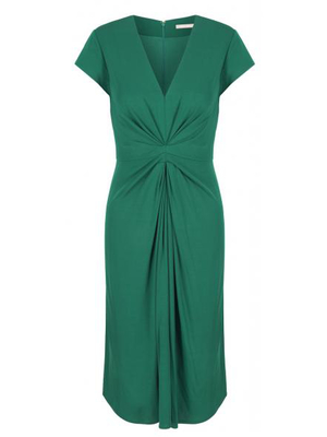 Issa For Banana Republic Green Gathered Waist Dress