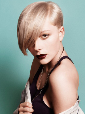 Short Blonde Punk Hairstyle With Long Fringe