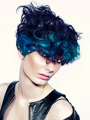 Short Curly Punk Haircut With Blue Hair Color