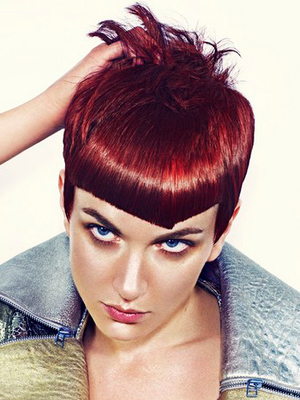 Short Punk Haircut With Asymmetric Bangs