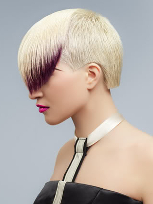 Short Punk Haircut With Colored Long Bangs