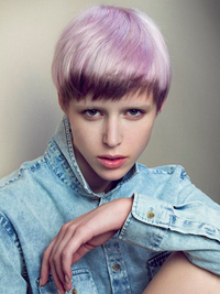 Purple Color Bowl Cut Pixie Haircut