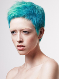 Short Punk Blue Colored Pixie Hairstyle