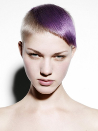 Short Punk Haircut With Chunky Purple Highlight