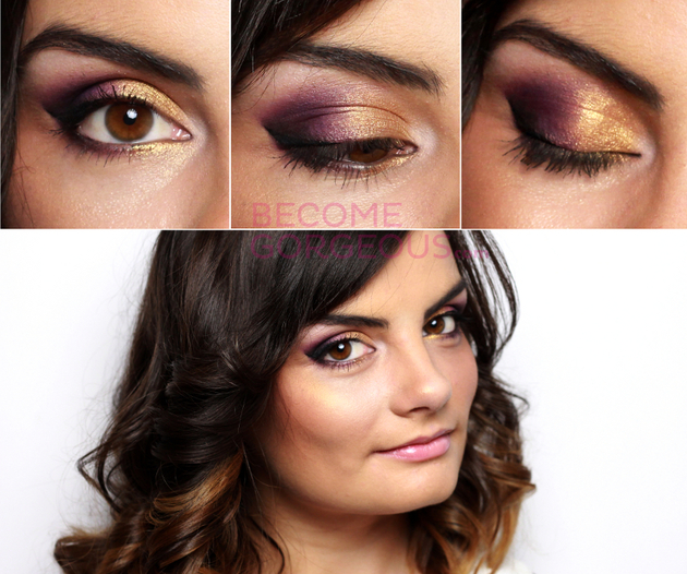 Brown Eyes Makeup With Gold And Purple