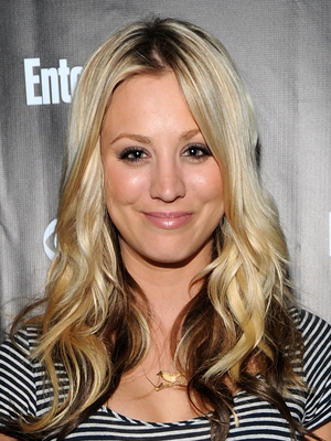 Kaley Cuoco Platinum Blonde Hair With Brown Underneath