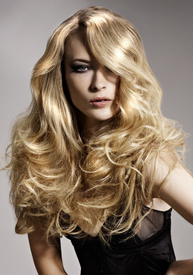 Long Wavy Hair With Side Swept Bangs