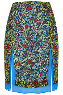 Topshop Printed Slit Skirt