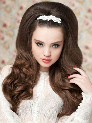 60s Style Long Bridal Hairstyle