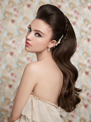Long Wedding Hairstyle With Braided Detail