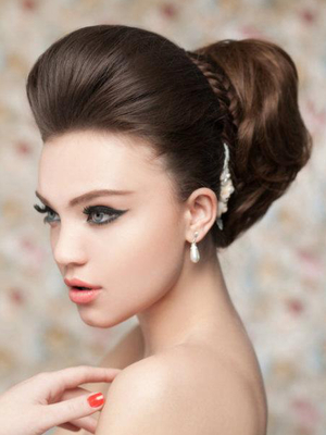 Voluminous Bridal Updo With Braid