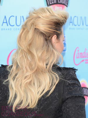 Demi Lovato Bump Hairstyle Back View