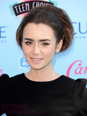 Lily Collins Retro Updo