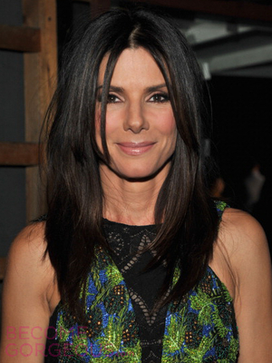 Sandra Bullock Straight Layered Hairstyle