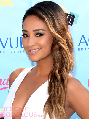 Shay Mitchell Side Swept Beach Waves