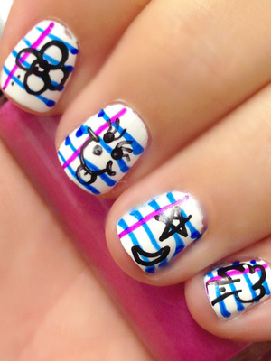 School Theme Nail Design