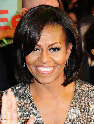 Michelle Obama Side Swept Bangs Hairstyle