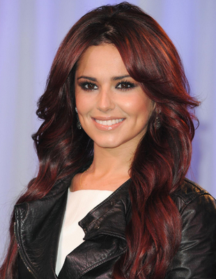 Cheryl Cole Burgundy Red Hair