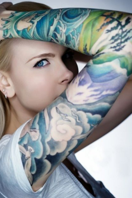 Colored Tattoo For Girls