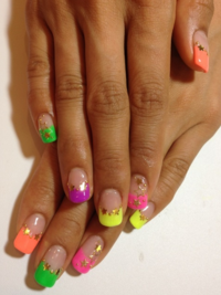 Multi Colored French Nails