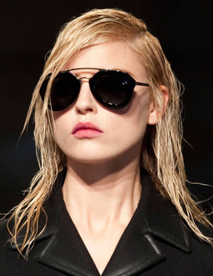 Wet Look Hairstyle Prada