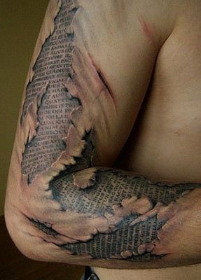 Ripped Skin Tattoo Design