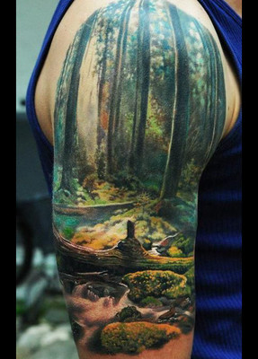 Scenery Half Sleeve Tattoo Design