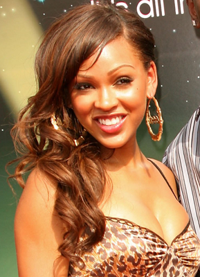 Meagan Good Side Swept Glam Curls