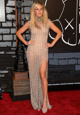 Ellie Goulding Studded Slit Dress