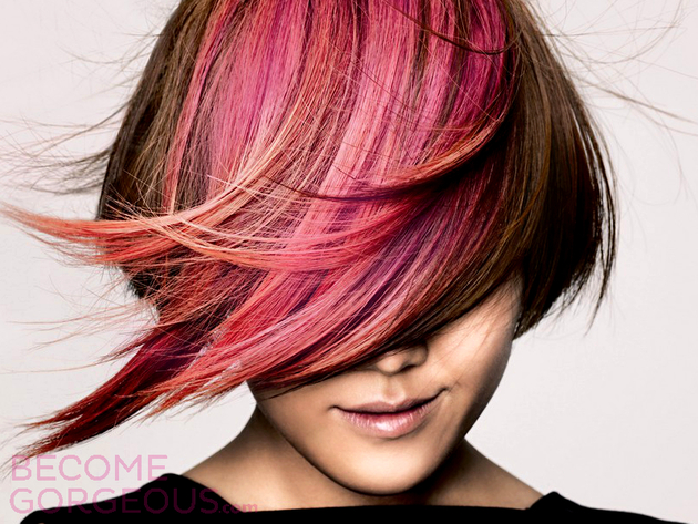 Pink Highlights in Brown Hair