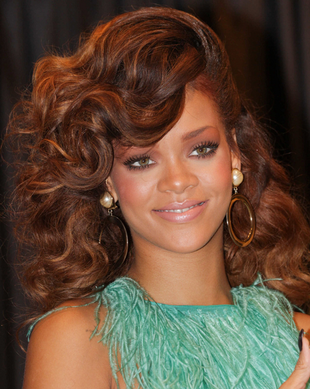 Rihanna High Volume Wavy Long Hairstyle