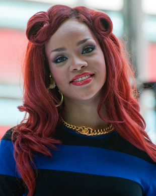 Rihanna Red Victory Rolls Hair