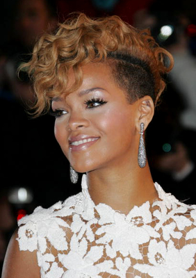 Rihanna Blonde Curly Fauxhawk