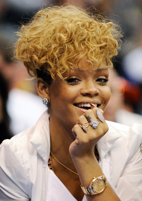Rihanna Blonde Curly Mohawk