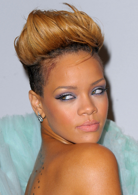 Rihanna Blonde Fauxhawk Hairstyle