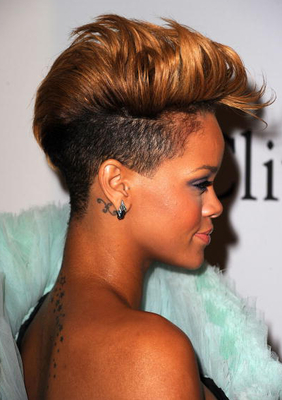 Rihanna Blonde Fauxhawk Side View