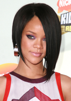 Rihanna First Asymmetric Bob Haircut