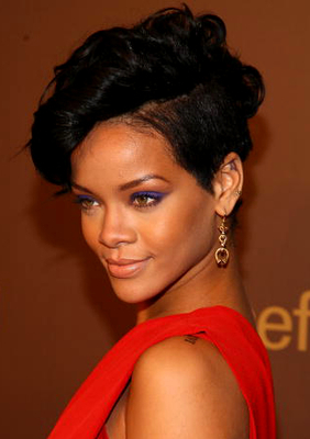 Rihanna With Curly Fauxhawk Hair