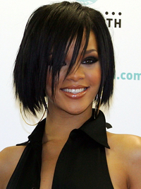 Rihanna Short Layered Bob With Side Bangs