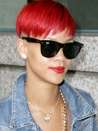 Rihanna Short Red Hair With Shaved Sides