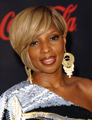 Mary J. Blige Asymmetric Short Bob Haircut