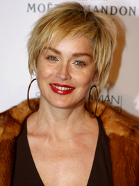 Sharon Stone Short Wavy Hairstyle
