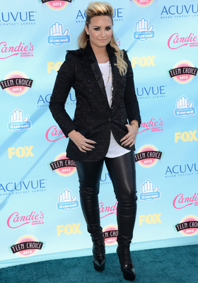 Demi Lovato Leather Pants With Blazer