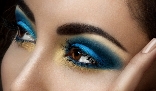 Blue and gold eye makeup