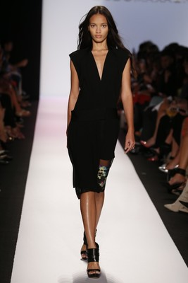 Black Dress With Floral Insertion From Bcbg Max Azria Spring 2014 Collection