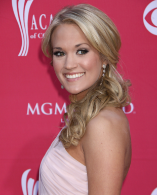 Carrie Underwood Curly Side Ponytail Hairstyle