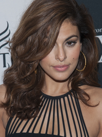 Eva Mendes Long Face Shape Textured Hair Style