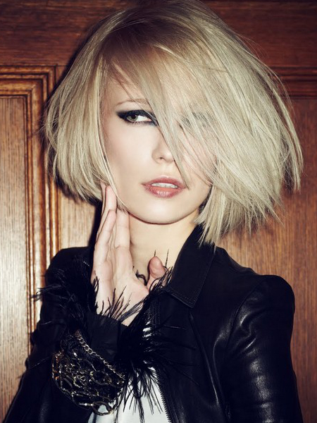 ... Hairstyles for Fine Thin Hair with Bangs - Layered Bob With Side Bangs