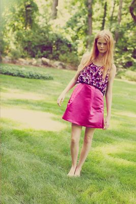 Erin Fetherston Spring 2014 Satin Skirt Dress
